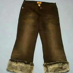 Faux fur trimmed pants NWOT